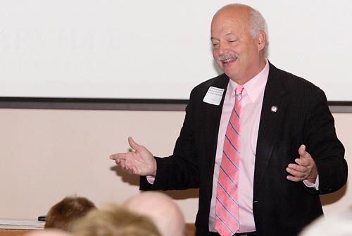 Ohio State Representative Bob D. Hackett speaks during the Greene County Regional Economic Development Forum at Cedarville University's Stevens Student Center in Cedarville, Ohio, Friday, November 18, 2011.
