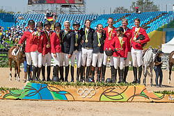 Team FRA, Bost Roger Yves, Leprevost Penelope, Staut Kevin, Rozier Philippe, Team USA, Davis Lucy, Farrington Kent, Ward Mclain, Madden Beezie, Team GER, Ahlmann Christian, Deusser Daniel, Beerbaum Ludger, Beerbaum-Michaels Meredith<br /> Olympic Games Rio 2016<br /> © Hippo Foto - Dirk Caremans<br /> 17/08/16