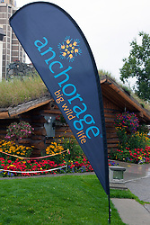 "Visitor Information Center with sign displaying ""Anchorage Big Wild Life"", Anchorage, Alaska, United States of America"