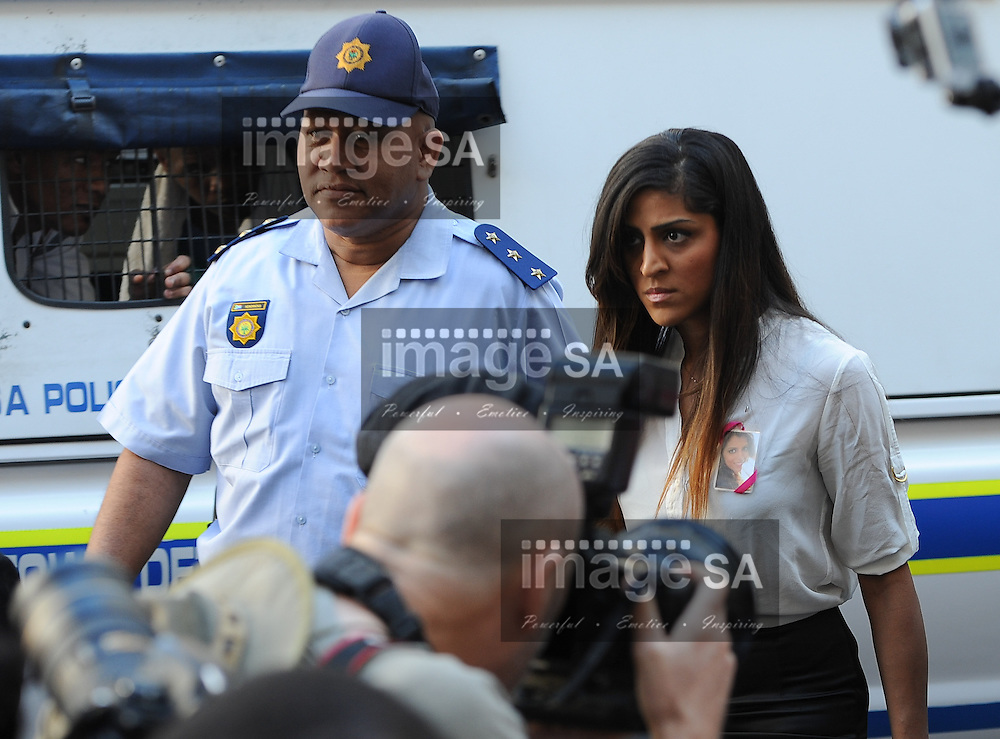 CAPE TOWN, SOUTH AFRICA - Monday 6 October 2014, Ami Denborg, sister of deceased Anni Dewani, arrives at court during Day 1 of the Shrien Dewani trial at the Cape High Court before Judge Jeanette Traverso. Dewani is caused of hiring hit men to murder his wife, Anni. Anni Ninna Dewani (n&eacute;e Hindocha; 12 March 1982 &ndash; 13 November 2010) was a Swedish woman who, while on her honeymoon in South Africa, was kidnapped and then murdered in Gugulethu township near Cape Town on 13 November 2010 (wikipedia).<br /> Photo by Roger Sedres