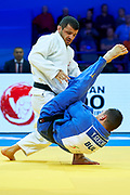 Warsaw, Poland - 2017 April 20: Amiran Papinashvili from Georgia (white) competes with Yanislav Gerchev from Bulgaria (blue) in the men&rsquo;s 60kg semifinal during European Judo Championships 2017 at Torwar Hall on April 20, 2017 in Warsaw, Poland.<br /> <br /> Mandatory credit:<br /> Photo by &copy; Adam Nurkiewicz / Mediasport<br /> <br /> Adam Nurkiewicz declares that he has no rights to the image of people at the photographs of his authorship.<br /> <br /> Picture also available in RAW (NEF) or TIFF format on special request.<br /> <br /> Any editorial, commercial or promotional use requires written permission from the author of image.