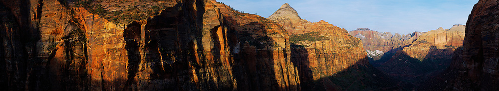 Sunrise from the East overlook in Zion National Park in Utah.