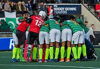AMSTELVEEN -huddle Pakistan,     voor de tweede  Olympische kwalificatiewedstrijd hockey mannen ,  Nederland-Pakistan (6-1). Oranje plaatst zich voor de Olympische Spelen 2020.  COPYRIGHT KOEN SUYK