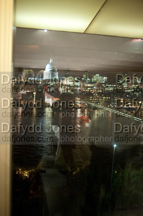 VIEW FROM TATE DINING ROOM, Gerhard Richter: Panorama. Tate Modern. London. 4 October 2011. <br /> <br />  , -DO NOT ARCHIVE-© Copyright Photograph by Dafydd Jones. 248 Clapham Rd. London SW9 0PZ. Tel 0207 820 0771. www.dafjones.com.