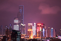 night view of skyscrapers in Shanghai China
