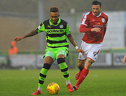 Keanu Marsh-Brown of Forest Green Rovers competes with Chris Dagnall of Crewe Alexandra  -Mandatory by-line: Nizaam Jones/JMP - 18/11/2017 - FOOTBALL - New Lawn Stadium - Nailsworth, England - Forest Green Rovers v Crewe Alexandre-Sky Bet League Two