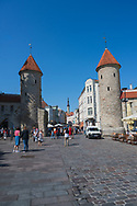 Tallinn, Estonia -- July 23, 2019. Photo of people outside Viru Gate, an ancient gated entrance and part of the defense system of Tallinn Estonia, constructed in the 14th century.
