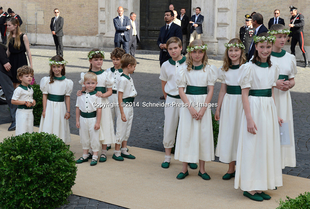 Image ©Licensed to i-Images Picture Agency. 05/07/2014. Rome, Italy.  Bride maids and Page boys during the wedding of Prince Amedeo Of Belgium and Elisabetta Maria Rosboch Von Wolkenstein at Basilica Santa Maria in Trastevere . Picture by  Schneider-Press / i-Images<br /> UK&USA ONLY