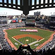 The opening ceremony during the New York Yankees Vs Toronto Blue Jays season opening day at Yankee Stadium, The Bronx, New York. 6th April 2015. Photo Tim Clayton