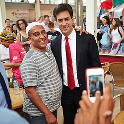 © Licensed to London News Pictures.  19/07/2014. Milton Keynes, UK. Labour leader ED MILIBAND poses for a photograph with shoppers during a visit to the Centre:MK shopping centre in Milton Keynes. Photo credit: Cliff Hide/LNP