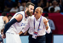 Luigi Datome of Italy and Ettore Messina, head coach of Italy during basketball match between National Teams of Italy and Serbia at Day 14 in Round of 16 of the FIBA EuroBasket 2017 at Sinan Erdem Dome in Istanbul, Turkey on September 13, 2017. Photo by Vid Ponikvar / Sportida