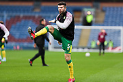 Norwich City defender Grant Hanley (5) warming up before the FA Cup match between Burnley and Norwich City at Turf Moor, Burnley, England on 25 January 2020.