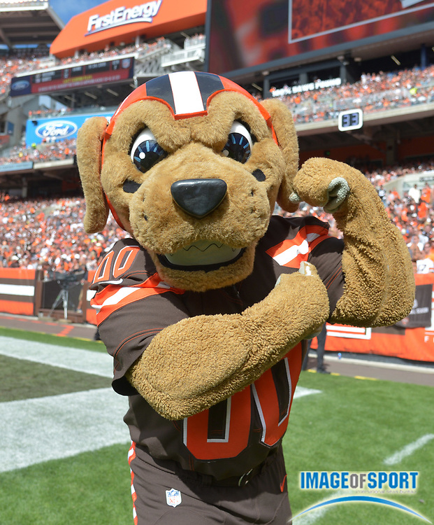 Sep 27, 2015; Cleveland, OH, USA; Cleveland Browns mascot Chomps flexes his bicep against the Oakland Raiders in a NFL game at FirstEnergy Stadium. The Raiders defeated the Browns 27-20.