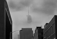 Freedom Tower peaking through the fog, NYC.