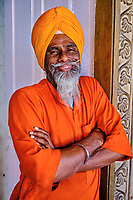 Inde, Delhi, vieux Delhi, temple sikh de Gurudwara Sis Ganj Sahib, homme sikh // India, Delhi, Old Delhi, sikh temple of Gurudwara Sis Ganj Sahib, sikh man