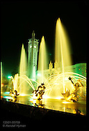 Night view of St. Louis Union Station;in foreground:Carl Miles fountain, Meeting of the Waters. Missouri