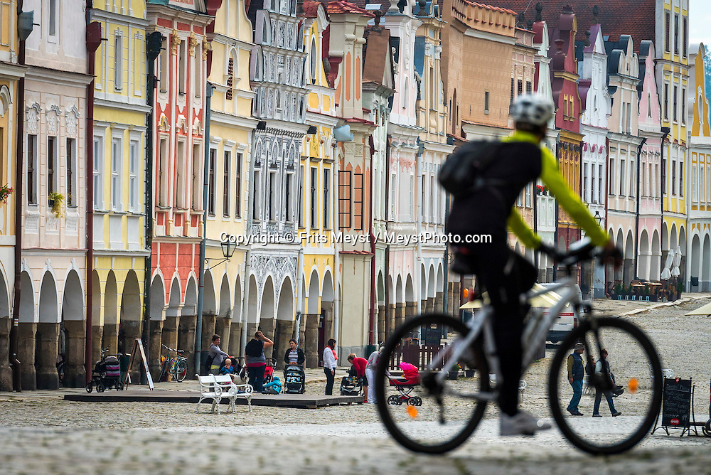 Telc, Moravia, Czech Republic, September 2015. elč's stunning town square is a tourist attraction in its own right. Most houses here were built in Renaissance style in the 16th century after a fire levelled the town in 1530. Some facades were given baroque facelifts in the 17th and 18th centuries, but the overall effect is harmoniously Renaissance. Southern Moravia is most famous for its wine,  rolling hills and pretty landscapes. Photo by Frits Meyst / MeystPhoto.com