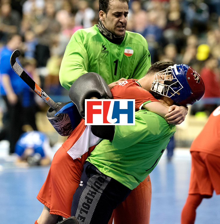 BERLIN - Indoor Hockey World Cup<br /> Quarterfinal 1: Iran - Czech Republic<br /> foto: Iran celebrates the win, CHAZANISHARAHI Alireza (GK) and HATAMINEJAD Sasan (GK).<br /> WORLDSPORTPICS COPYRIGHT FRANK UIJLENBROEK