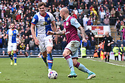 Aston Villa Defender, Alan Hutton (21) and Blackburn Rovers Forward, Sam Gallagher (19) during the EFL Sky Bet Championship match between Blackburn Rovers and Aston Villa at Ewood Park, Blackburn, England on 29 April 2017. Photo by Mark Pollitt.