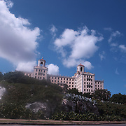 The historic luxurious Hotel Nacional de Cuba located on Taganana hill overlooking the Malecon and the ocean in the middle of El Vedado, Havana, Cuba. <br /> Photography by Jose More