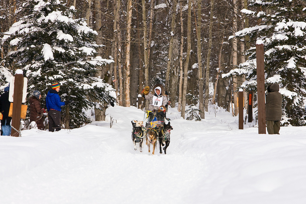 Musher Jeff King and sled dogs in the Fur Rendezvous World Sled Dog Championships on the Campbell Creek Trail in Anchorage, Alaska. Southcentral. Afternoon.