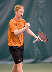 Texas Longhorns Ed Corrie celebrates after winning a point.  The #1 ranked Virginia Cavaliers men's tennis team defeated the #5 ranked Texas Longhorns 5-2 at the Boyd Tinsley Courts at the Boar's Head Inn and Resort in Charlottesville, VA on February 29, 2008.