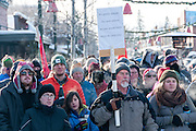 The crowd at the Love Not Hate gathering in Whitefish, MT, in sub-zero temperatures.