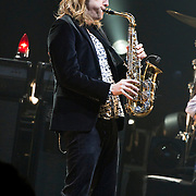 My Morning Jacket, with Carl Broemel on saxaphone, peform at Verizon Theatre in Grand Prarie. (Special to the Star-Telegram/Rachel Parker)