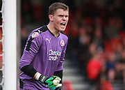 Crawley Town goalkeeper Callum Preston shouts instructions on his League debut during the Sky Bet League 2 match between Crawley Town and Leyton Orient at the Checkatrade.com Stadium, Crawley, England on 10 October 2015. Photo by Bennett Dean.