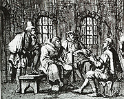 Jacob Reer interrogated in the dungeon (May 9 1569)  a 'disputation' with Brother Cornelis in the front of Mr Jan van Damme, the clerk, and Michael Houwaert, 'Clerk of the blood'.