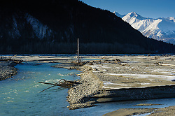 Constantine Metal Resources Ltd. of Vancouver, British Columbia along with investment partner Dowa Metals &amp; Mining Co., Ltd. of Japan is exploring a potential site for a mine (located upper right) just above Glacier Creek (not visible) and the Klehini River (foreground), near Haines Alaska. This area, known as the Palmer Deposit is located near mile 40 of the Haines Highway and the Porcupine placer gold mining area.<br /> <br /> The minerals that Constantine&rsquo;s drilling explorations have found are primarily copper and zinc, with significant amounts of gold and silver. Exploratory drilling to refine the location and mineral amounts are the current focus of the company.<br /> <br /> If approved and developed, the mine would be an underground mine. Besides the actual ore deposits, having the nearby highway access for transporting ore to the deepwater port at Haines is also attractive to Constantine.<br /> <br /> Support for a large scale mine such as the Constantine project is divided among residents of Haines, a small community in Southeast Alaska 75 miles northwest of Juneau. The community&rsquo;s needed economic boost from jobs, development and other mine support that a large-scale mine brings is tempting to some. To others, anything that might put the salmon spawning and rearing habitat and watershed resources at risk is simply unimaginable and unacceptable. Of particular concern is copper and other heavy metals in mine waste leaching into the Klehini and Chilkat River. Copper and heavy metals are toxic to salmon and bald eagles.<br /> <br /> The Chilkat River chum salmon are the primary food source for one of the largest gatherings of bald eagles in the world. Each fall, bald eagles congregate in the Alaska Chilkat Bald Eagle Preserve, located only three miles downriver from the area of current exploration. At times more than 3,000 eagles have been recorded at the primary gathering area for the fall chum salmon run.