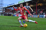 Grimsby Town midfielder Jake Hessenthaler(7) and MK Dons midfielder Alex Gilbey (8) during the EFL Sky Bet League 2 match between Grimsby Town FC and Milton Keynes Dons at Blundell Park, Grimsby, United Kingdom on 26 January 2019.