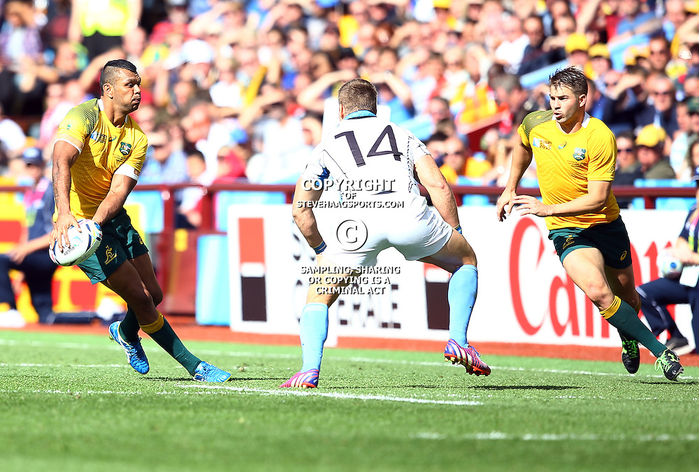 BIRMINGHAM, ENGLAND - SEPTEMBER 27: Kurtley Beale of Australia during the Rugby World Cup 2015 Pool A match between Australia and Uruguay at Villa Park on September 27, 2015 in Birmingham, England. (Photo by Steve Haag/Gallo Images)