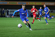 AFC Wimbledon attacker Marcus Forss (15) chasing a through ball during the Leasing.com EFL Trophy match between AFC Wimbledon and Leyton Orient at the Cherry Red Records Stadium, Kingston, England on 8 October 2019.