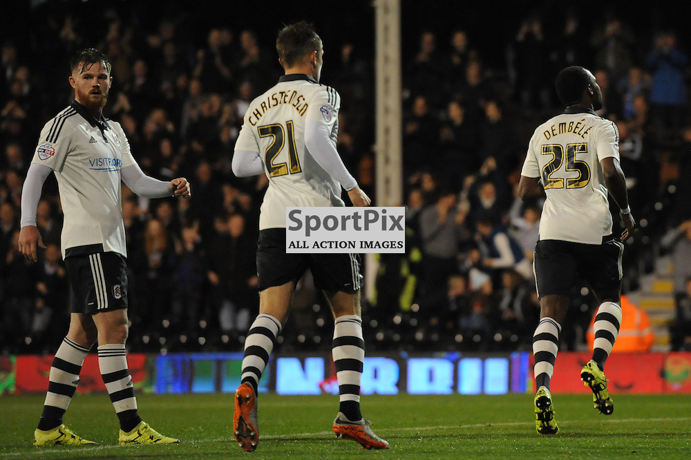 Fulhams Moussa Dembele celebrates his goal during Fulham v Leeds United game in the Sky Bet Championship at Craven Cottage on the 21st October 2015.