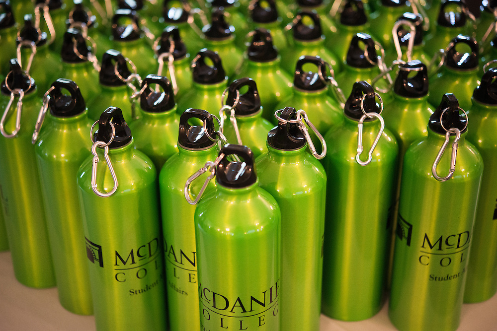 (photo by Matt Roth).Friday, July 20, 2012..Parents were given water bottles during McDaniel College's Parent Preview Friday, July 20, 2012.