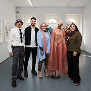 """18.05.2018.          <br /> More than 500 people attended the flagship event of the inaugural Unwrap LSAD Fashion Festival in Limerick.<br /> <br /> Graduate Aysha Birani, Ontario Cnanade is pictured with her family, Ahmad, Ali and mother Hanan Birani with Aysha's Design, Cacophony.<br /> <br /> The Limerick School of Art & Design, LIT, Fashion Design Graduate Exhibition and launch of the """"The Fashion Film"""" at Limerick City Gallery of Art, in partnership with EVA International, attracted hundreds of people from the world of fashion. <br /> <br /> A total of 27 fashion graduates presented their designs alongside the specially commissioned film by fashion stylist and creative director Kieran Kilgallon and videographer Albert Hooi. Picture: Alan Place"""