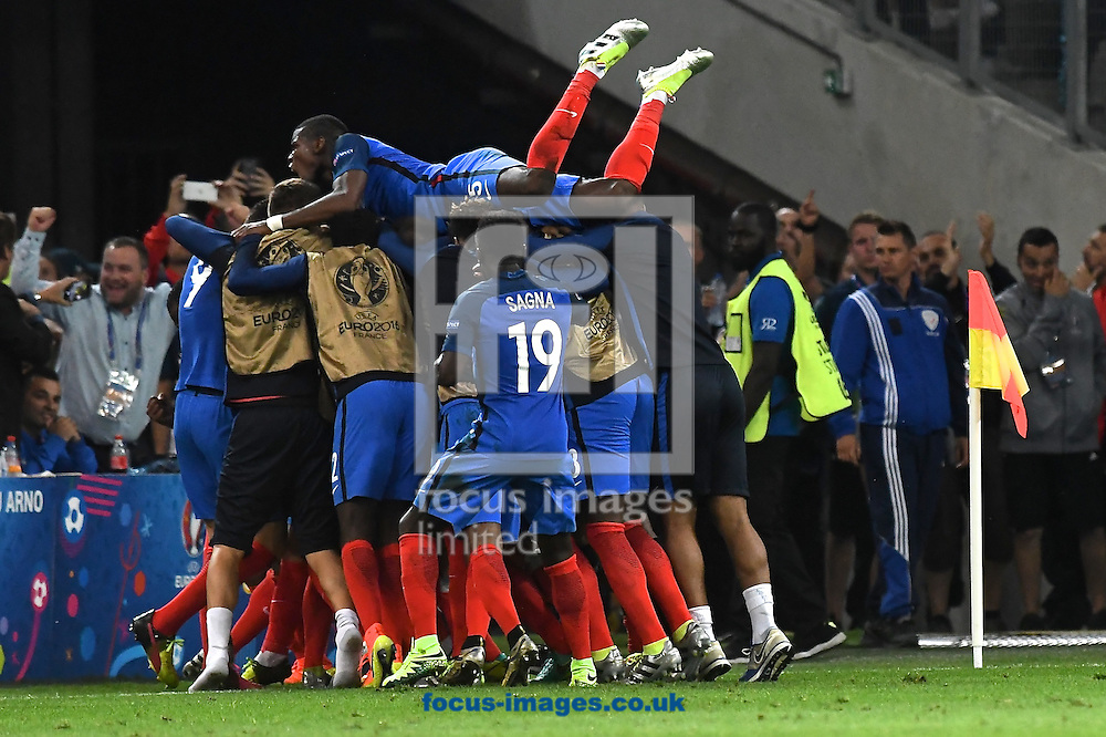 France players celebrate Antoine Griezmann of France scoring their first goal to make it France 1 Albania 0 during the UEFA Euro 2016 match at Stade Velodrome, Marseille<br /> Picture by Kristian Kane/Focus Images Ltd 07814482222<br /> 15/06/2016