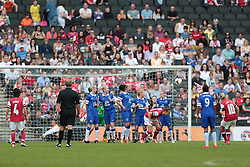 Arsenal Ladies player Kelly Smith (10) scores from a free kick  - Photo mandatory by-line: Nigel Pitts-Drake/JMP - Tel: Mobile: 07966 386802 01/06/2014 - SPORT - FOOTBALL - LADIES - Stadium mk - Milton Keynes - Arsenal Ladies v Everton Ladies - The FA Women's Cup Final