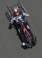 LONDON UK 29TH JULY 2016:  Kirk Hughes (GBR). Prudential RideLondon Handcycle Grand Prix at the London Velo Park. Prudential RideLondon in London 29th July 2016<br /> <br /> Photo: Bob Martin/Silverhub for Prudential RideLondon<br /> <br /> Prudential RideLondon is the world&rsquo;s greatest festival of cycling, involving 95,000+ cyclists &ndash; from Olympic champions to a free family fun ride - riding in events over closed roads in London and Surrey over the weekend of 29th to 31st July 2016. <br /> <br /> See www.PrudentialRideLondon.co.uk for more.<br /> <br /> For further information: media@londonmarathonevents.co.uk