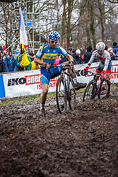 Calle FRIBERG (71,SWE) & Yu TAKENOUCHI (56,JPN), 7th lap at Men UCI CX World Championships - Hoogerheide, The Netherlands - 2nd February 2014 - Photo by Pim Nijland / Peloton Photos