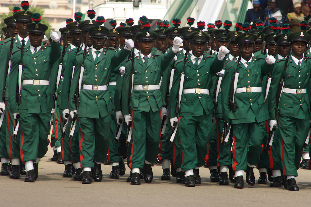 Soldiers on parade at presidential inauguration, Abuja, Nigeria