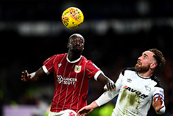 Famara Diedhiou of Bristol Citybattles for the ball with Richard Keogh of Derby County  - Mandatory by-line: Joe Meredith/JMP - 19/01/2018 - FOOTBALL - Pride Park Stadium - Derby, England - Derby County v Bristol City - Sky Bet Championship