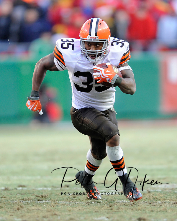December 20, 2009:   Running back Jerome Harrison #35 of the Cleveland Browns rushed for an NFL record 286 yards and three touchdowns against the Kansas City Chiefs at Arrowhead Stadium in Kansas City, Missouri.  The Browns defeated the Chiefs 41-34...