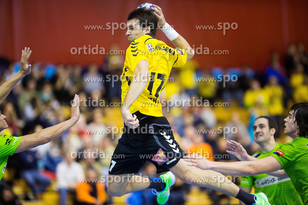 Klemen Cehte of Gorenje during handball match between RK Gorenje Velenje and Naturhouse La Rioja in Round 6 of Group D of EHF Men's Champions League 2013/14, on November 23, 2013 in Rdeca dvorana, Velenje, Slovenia. Photo by Vid Ponikvar / Sportida