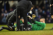 Stephen Henderson (13) of Portsmouth in pain after picking up a thigh injury which forced him off and he was replaced by Kal Naismith (22) of Portsmouth during the EFL Sky Bet League 1 match between Portsmouth and Doncaster Rovers at Fratton Park, Portsmouth, England on 3 February 2018. Picture by Graham Hunt.