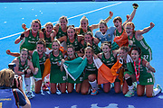 Ireland team celebrates winning their match during the Vitality Hockey Women's World Cup 2018 Semi-Final match between Ireland and Spain at the Lee Valley Hockey and Tennis Centre, QE Olympic Park, United Kingdom on 4 August 2018. Picture by Martin Cole.