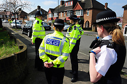© Licensed to London News Pictures.14/04/2018<br /> HITHER GREEN, UK.<br /> Police numbers stepped up in the area area South Park Crescent and Further Green Road for protest.<br /> Community Support for the Residents of South Park Crescent a<br /> peaceful protest outside the home of 78 year old Richard Osborn-Brooks who stabbed and killed burglar Henry Vincent.<br /> Photo credit: Grant Falvey/LNP