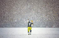 Green Bay Packers' Brett Favre points to the south endzone as the 3rd quarter ends. .The Green Bay Packers hosted the Seattle Seahawk in the NFC Divisional Playoffs Saturday January 12, 2008.