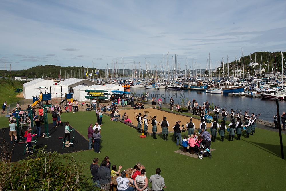 Silvers Marine Scottish Series 2017<br /> Tarbert Loch Fyne - Sailing<br /> <br /> Tarbert Harbour - Pipe Band<br /> <br /> Credit: Marc Turner / CCC